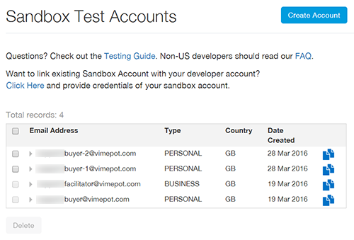 Sandbox Test Accounts