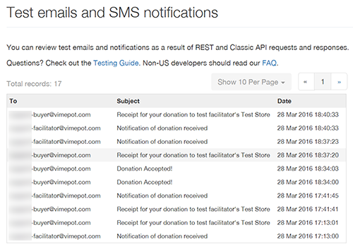 PayPal test emails and SMS notifications
