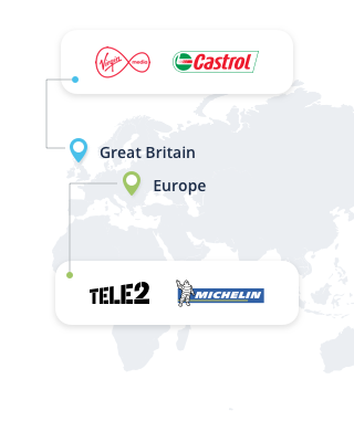 tele2, michelin, castrol, virgin media
